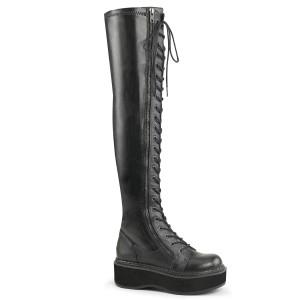 Negro Polipiel 5 cm EMILY-375 botas por encima de la rodilla con cordones