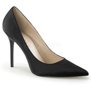 Negro Satinado 10 cm CLASSIQUE-20 Stiletto Zapatos Tacón de Aguja