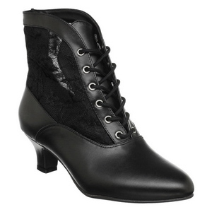 Negro Tela de Encaje 5 cm DAME-05 Botines de Cordones Altos Mujer