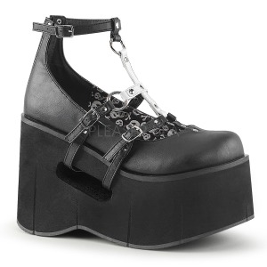 Negros 11,5 cm KERA-09 lolita zapatos góticos calzados con cuña alta