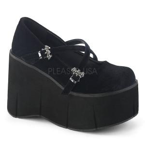Negros Terciopelo 11,5 cm KERA-10 zapatos lolita plataforma