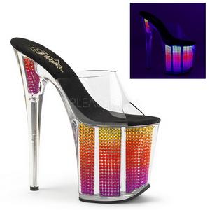 Neon Strass 20 cm FLAMINGO-801SRS zuecos mujer tacón plataforma