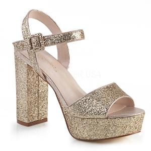 Oro 11,5 cm CELESTE-09 sandalias con tacón bloque y plataforma glitter