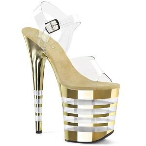 Oro 20 cm FLAMINGO-808CHLN Sandalias Mujer Plataforma Cromo