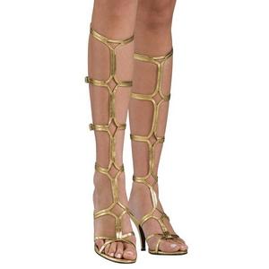 Oro 8 cm ROMAN-10 gladiador sandalias hasta la rodilla con hebillas