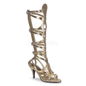 Oro 9 cm GODDESS-12 gladiador sandalias hasta la rodilla con hebillas