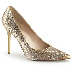 Oro Brillo 10 cm CLASSIQUE-20 Stiletto Zapatos Tacón de Aguja