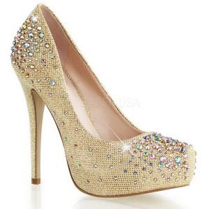 Oro Piedras Strass 13 cm DESTINY-06R Plataforma Zapato Salón
