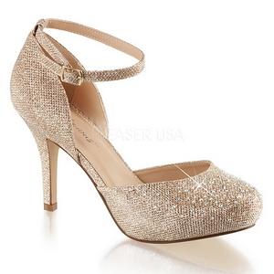 Oro Strass 9 cm COVET-03 Zapato Salón Clasico para Mujer