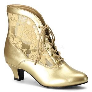 Oro Tela de Encaje 5 cm DAME-05 Botines de Cordones Altos Mujer