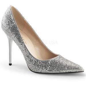 Plata Brillo 10 cm CLASSIQUE-20 Stiletto Zapatos Tacón de Aguja