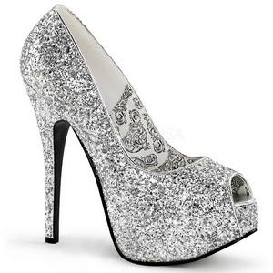 Plata Brillo 14,5 cm Burlesque BORDELLO TEEZE-22G Plataforma Zapatos de Salón