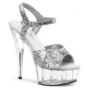 Plata Brillo 15 cm Pleaser DELIGHT-609 Tacones Altos Plataforma