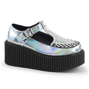Plata CREEPER-214 Zapatos de Creepers Mujeres Plataforma