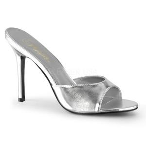 Plata Polipiel 10 cm CLASSIQUE-01 zapatos de zuecos tallas grandes