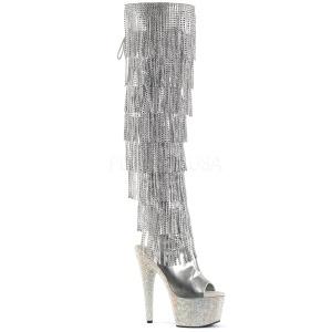 Plata Polipiel 18 cm BEJRSF-7 botas con flecos de mujer tacón altos