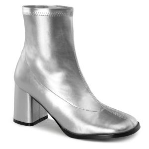 Plata Polipiel 7,5 cm GOGO-150 botines mujer tacón ancho stretch