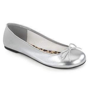Plata Polipiel ANNA-01 zapatos de bailarinas tallas grandes