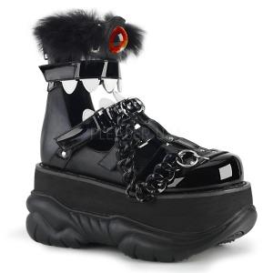 Polipiel Negro 7,5 cm NEPTUNE-150 Zapatos de Goticas Hombres Plataforma