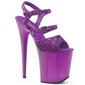 Purpura 20 cm FLAMINGO-874 brillo plataforma sandalias de tacón alto