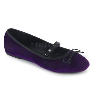 Purpura Terciopelo DEMONIA DRAC-07 bailarinas zapatos planos mujer