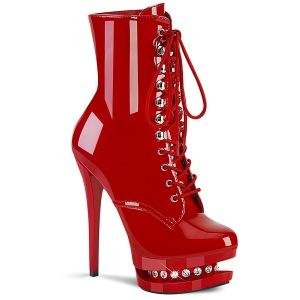 Rojo 15,5 cm BLONDIE-R-1020 botines plataforma con cordones en charol