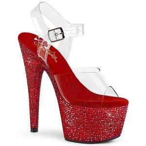 Rojo 18 cm BEJEWELED-708DM plataforma zapatos de tacón con piedras