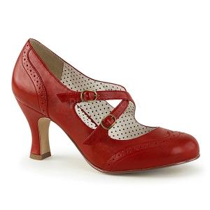 Rojo 7,5 cm FLAPPER-35 Pinup zapatos de salón tacón bajo