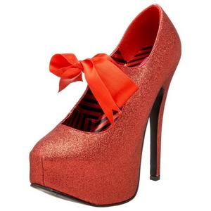 Rojo Brillo 14,5 cm Burlesque TEEZE-04G Zapatos de tacón altos mujer