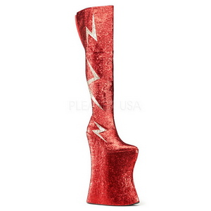 Rojo Brillo 34 cm VIVACIOUS-3016 Botas Altas para Drag Queen