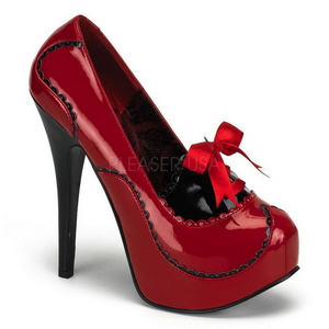Rojo Charol 14,5 cm BORDELLO TEEZE-01 Plataforma Zapatos de Salón