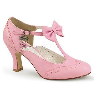 Rosa 7,5 cm retro vintage FLAPPER-11 Pinup zapatos de salón tacón bajo