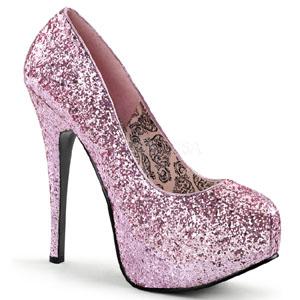 Rosa Brillo 14,5 cm Burlesque BORDELLO TEEZE-06G Plataforma Zapatos de Salón
