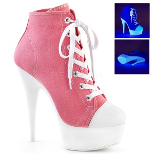 Rosa Neon 15 cm DELIGHT-600SK-02 Zapatos de lona con tacón