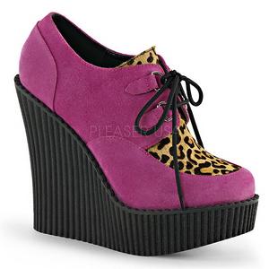 Rosa Polipiel CREEPER-304 zapatos de cuñas creepers mujer