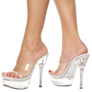 Transparente 14 cm Pleaser ALLURE-601 Plataforma Mules Altos