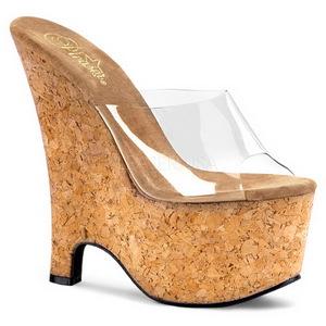 Transparente 16,5 cm Pleaser BEAU-601 Zapatos De Cuña Alta Corcho