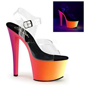 Transparente 18 cm RAINBOW-308UV Sandalias Mujer Plataforma Neon