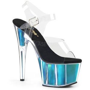 Turquesa 18 cm ADORE-708HGI Holograma plataforma sandalias de tacón alto
