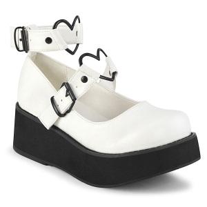 Vegano 6 cm DEMONIA SPRITE-02 zapatos de salón mary jane blanco