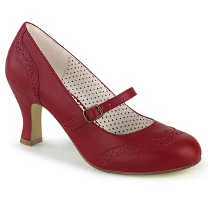 Vegano 7,5 cm FLAPPER-32 retro vintage zapatos de salón maryjane rojo