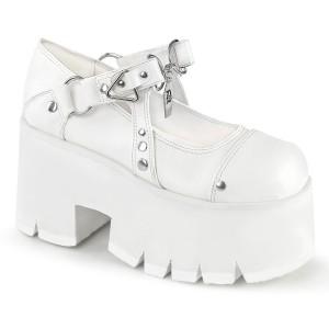 Vegano 9 cm ASHES-33 demonia zapatos alternativo plataforma blanco