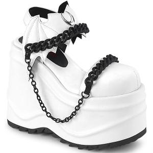 Vegano Blanco 15 cm Demonia WAVE-20 lolita zapatos sandalias con cuña alta plataforma