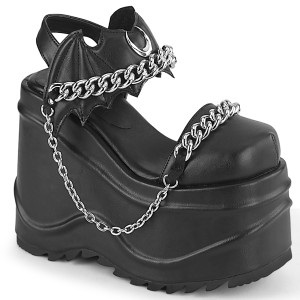 Vegano Negros 15 cm Demonia WAVE-20 lolita zapatos sandalias con cuña alta plataforma