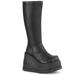 Vegano negros 12 cm STOMP-200 botas cyberpunk plataforma de cuñas