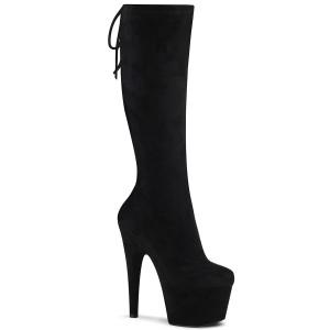 Vegano suede 18 cm ADORE-2008 botas plataforma exotic pole dance en negro