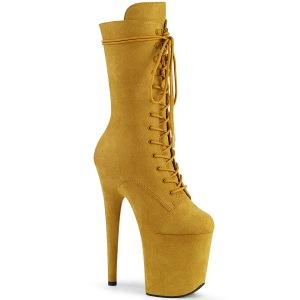 Vegano suede 20 cm FLAMINGO-1050FS botas plataforma exotic pole dance en amarillo