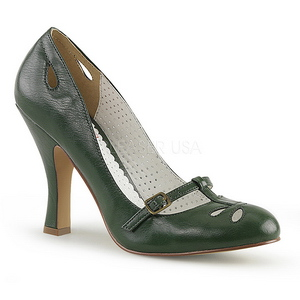 Verde 10 cm SMITTEN-20 Pinup zapatos de salón tacón bajo