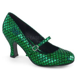 Verde 7,5 cm MERMAID-70 zapatos de salón tacón bajo