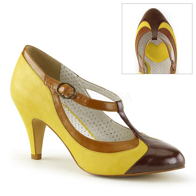 Tacón 8 Pinup Zapatos De 03 Salón Amarillo Cm Bajo Peach R6qq8